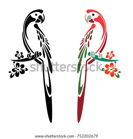 silhouette of two parrots color and black cartoon on white background vector