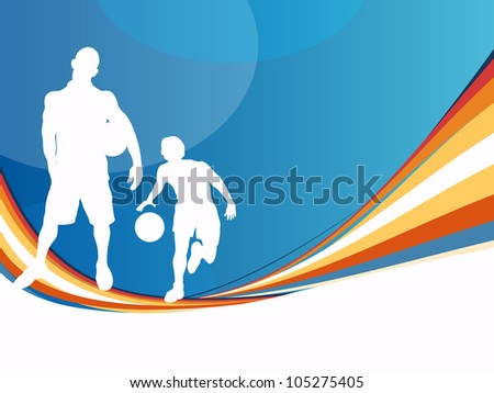 Silhouette of two soccer football players with soccer ball in standing or playing action on creative wave, arrow and dotted grey background. EPS 10. - stock vector