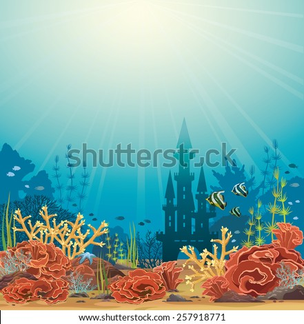 Silhouette of underwater castle and colorful coral reef with tropical fishes. Vector seascape illustration. - stock vector