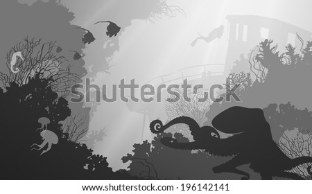 silhouette of underwater marine life and octopus in the foreground. Wreck and diver in the background. black and white - stock vector