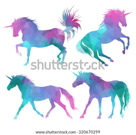 Silhouette of unicorns. Colorful triangular style.  - stock vector