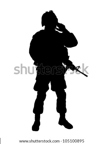 Silhouette of US soldier with rifle - stock vector