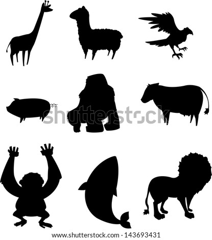 silhouette of various animals - stock vector