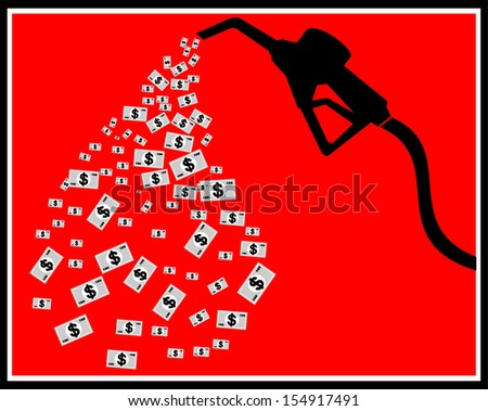 Silhouette of vector gas pump with dollar - stock vector