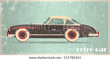Silhouette of vintage car on a grunge background - stock vector
