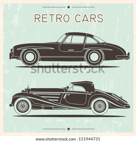 Silhouette of vintage cars - stock vector
