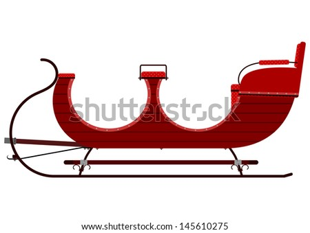 Silhouette of vintage sleigh in dark red on a white background. - stock vector