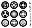 Silhouette of wheels. Vector icon set - stock photo