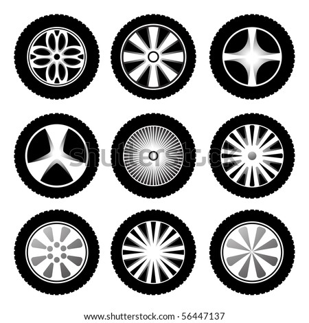 Silhouette of wheels. Vector icon set - stock vector