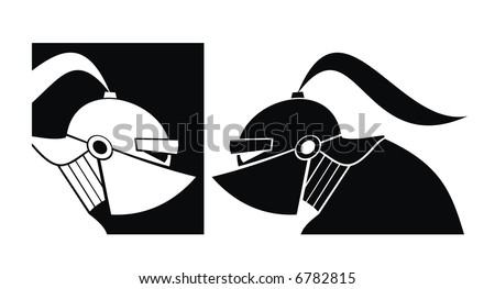 Silhouette of white and black knight. Vector. - stock vector