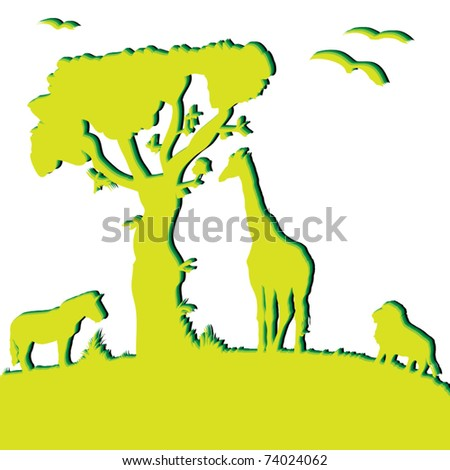 Silhouette of wild animals of Africa