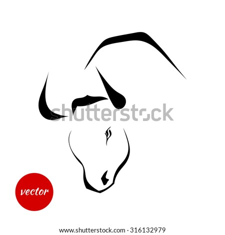 Silhouette of wild bull on a white background. Vector illustration.