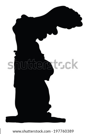 Silhouette of Winged Victory Of Samothrace isolated on white - stock vector