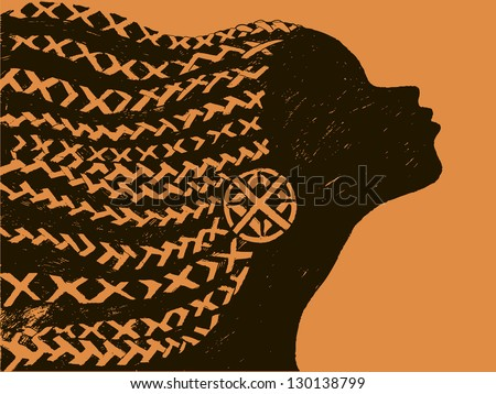 stock-vector-silhouette-of-woman-beautiful-black-woman-african-with ...