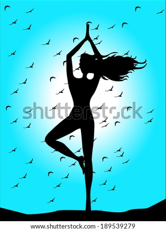 silhouette of woman doing yoga on blue sky background  - stock vector