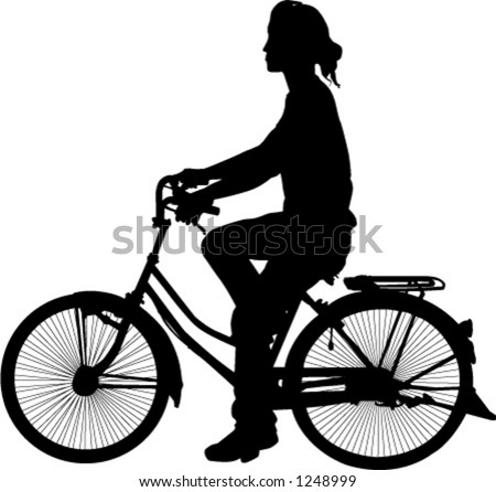 silhouette of woman on bicycle - stock vector