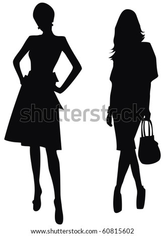 silhouette of women - stock vector