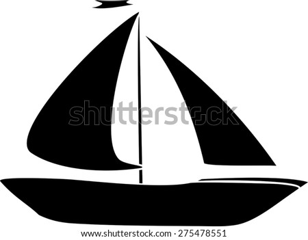 Silhouette of yacht