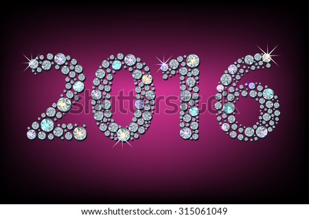 Silhouette of 2016 year, made with faceted shiny diamonds - stock vector