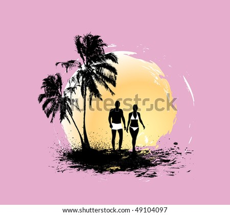 silhouette of young couple having fun summer holiday, vector illustration, No mesh in this Vector - stock vector