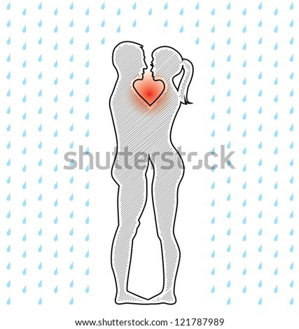 silhouette of young couple standing in the rain - illustration - stock vector