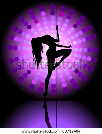 Silhouette of young dancing beautiful woman - stock vector