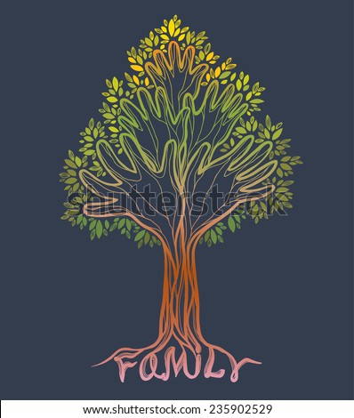 Silhouette off abstract green hand tree. Concept illustration- family tree on a gray background. - stock vector