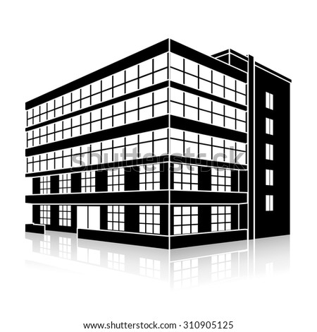 silhouette office building with an entrance and reflection on a white background - stock vector