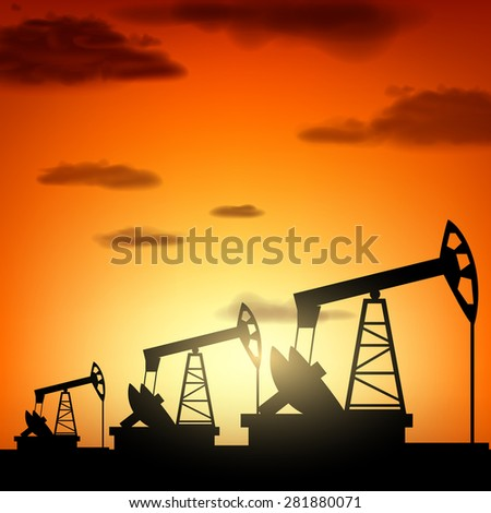 Silhouette oil pump at sunset. Oil production. Vector industrial background. - stock vector