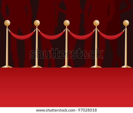 silhouette on a red carpet.  vector illustration - stock vector