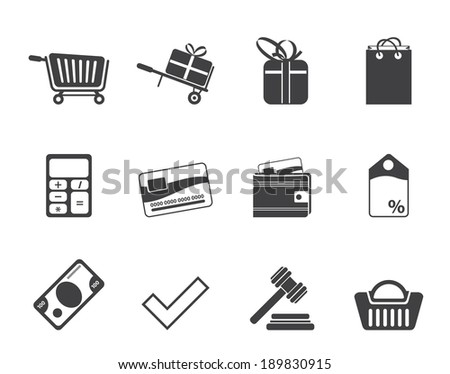 Silhouette On line shop icons - vector  icon set - stock vector