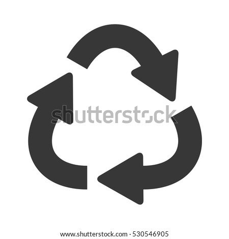 silhouette oval recycling symbol shape with arrows