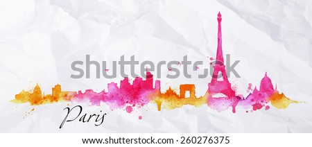 Silhouette Paris city painted with splashes of watercolor drops streaks landmarks in pink with orange tones - stock vector