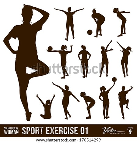 Silhouette people exercise design background, vector illustration - stock vector