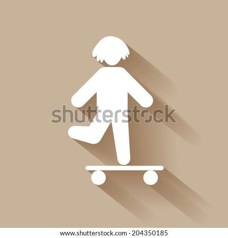 Silhouette people icon, children - stock vector