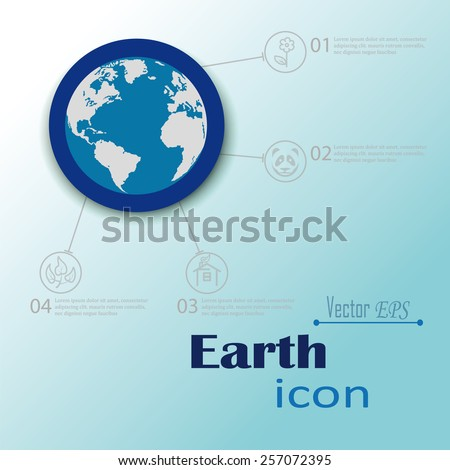 silhouette planet Earth in the blue circle which runs pointers  icons symbols relating to land earthly beauty flowers,plants health of  land,panda as animal welfare,as environmentally friendly home - stock vector