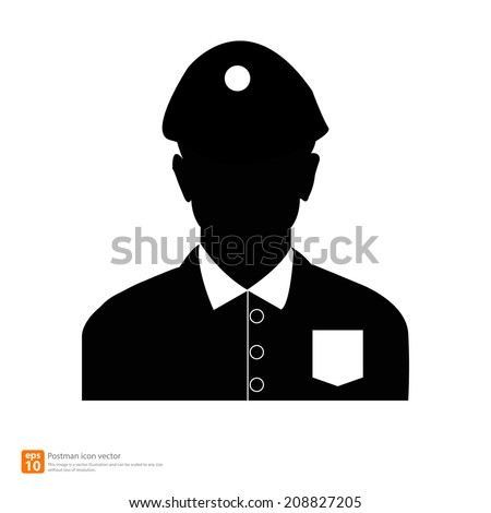 Silhouette  postman avatar profile pictures  - stock vector