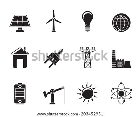 Silhouette power, energy and electricity icons - vector icon set - stock vector