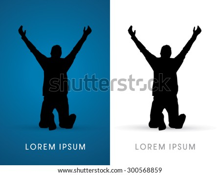 Silhouette, praying, hand up  to God, graphic vector. - stock vector