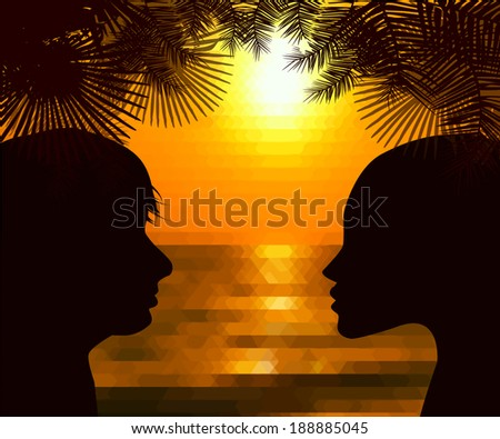 Silhouette profile of a person in love at sunset. Vector - stock vector