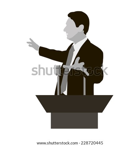 Silhouette protruding speaker with wide beautiful hand gestures. Orator stands behind a podium with microphones makes a report to the public. Oratory, lecturer, business seminar. Vector. Icon