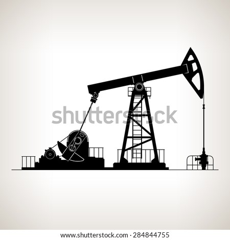 Silhouette Pump jack or Oil Pump, also Called Oil Horse,  Pumping Unit, Grasshopper Pump, Big Texan, or Jack Pump, Overground Drive for a Reciprocating Piston Pump in an Oil Well, Vector Illustration