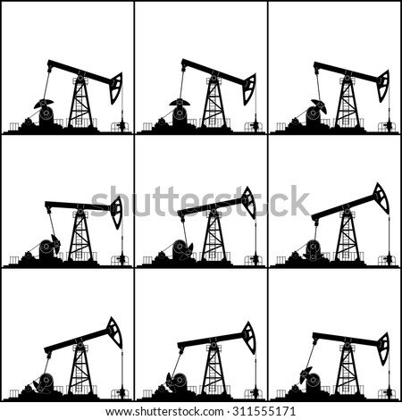 Silhouette Pump Jack or Oil Pump, Different Positions Working Oil Pumps, Isolated, Black and White Vector Illustration - stock vector