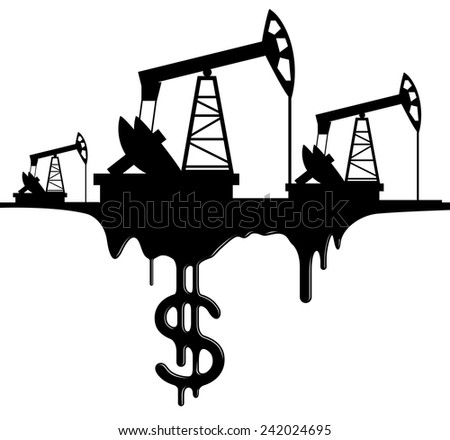 silhouette pumpjack and oil with the dollar - stock vector