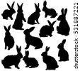 silhouette rabbit   vector ...