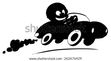 silhouette racer on the retro car - stock vector
