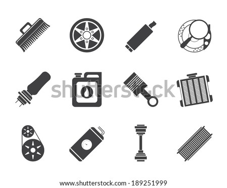 Silhouette Realistic Car Parts and Services icons - Vector Icon Set 2 - stock vector