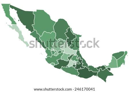 Silhouette regions map of the Mexico. All objects are independent and fully editable  - stock vector