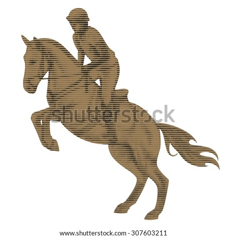 silhouette rider on horse, white background , isolated sketch
