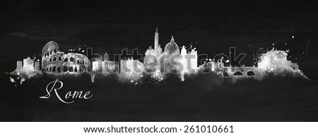 Silhouette Rome city painted in chalk with spray droplets with streaks landmarks drawing with chalk on blackboard - stock vector